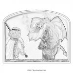 Prince fighting dragon gray scale coloring page; Click thumbnail for printable PDF